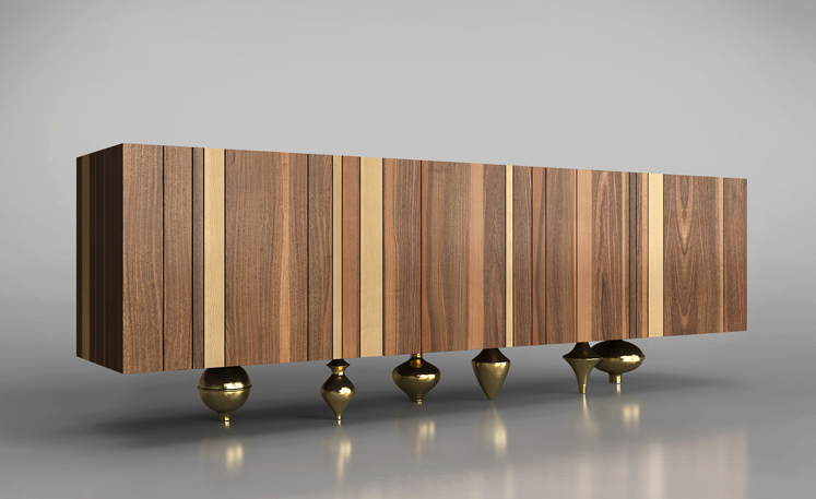 brass furniture. Il Pezzo 1 Is A Modern Sideboard That Combines Solid Wood With Rounded Sand Cast Brass Feet. Furniture
