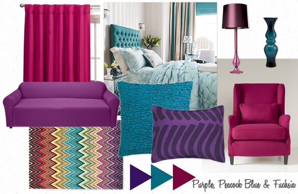 purple peacock blue fuchsia furniture clue
