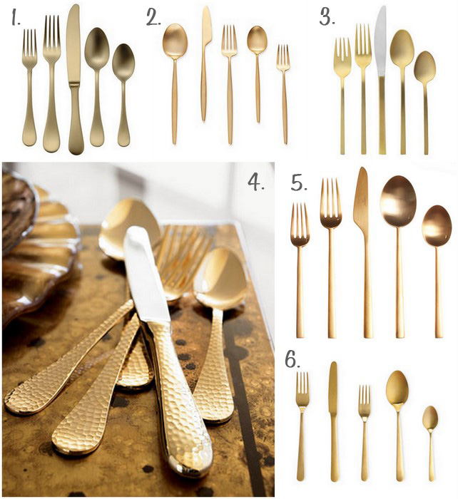 Six Different Sets of Gold Flatware | Furniture Clue